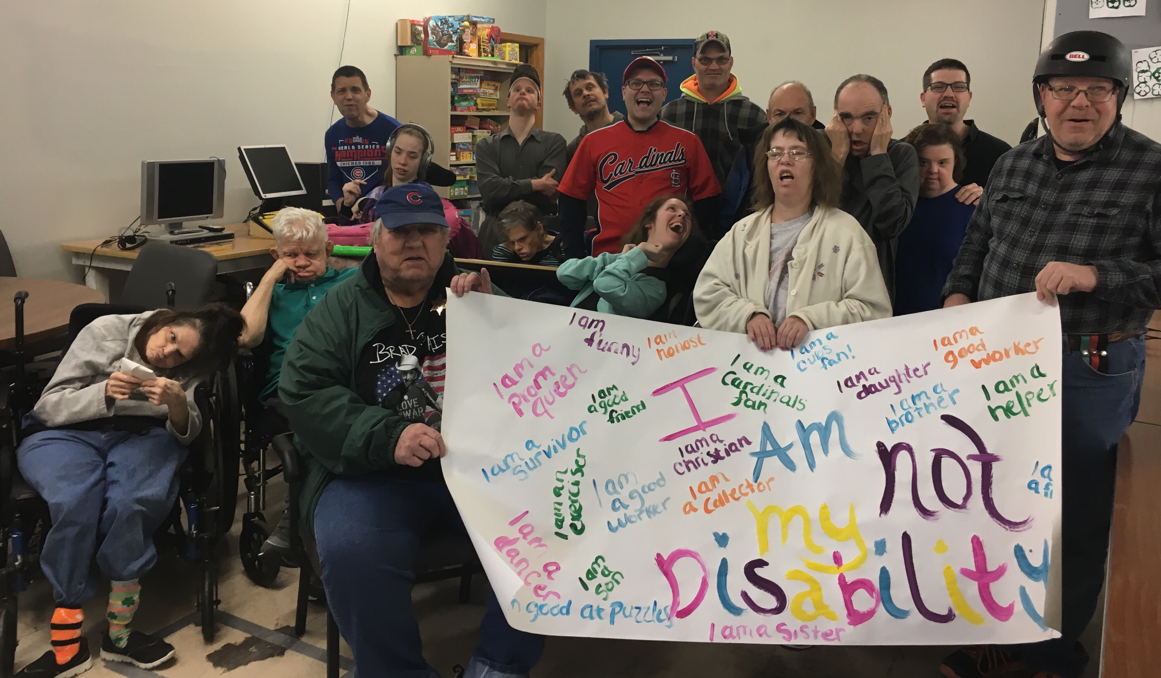 Group With I am not my disability sign